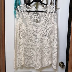 Tops - Cream lace top
